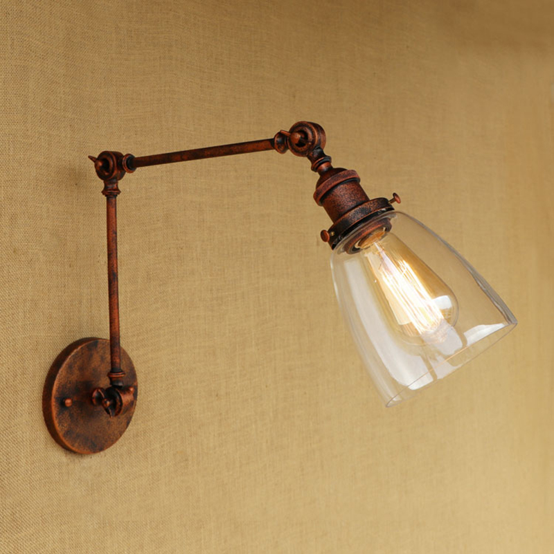Retro Loft Industrial wall lamp CLEAR GLASS lampshade free adjust long swing arms for living room restaurant bar E27 bulb t loft retro industrial wall lamp for bar