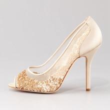 Custom Made Ivory Sequin Wedding Shoes Peep Toe Summer Mesh Bridal Pumps Handmade Custom Made Women Sandals Thin Kitten Heels