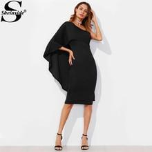 Sheinside черный Асимметричная одно плечо Foldover Платье-футляр Для женщин с длинными рукавами элегантное праздничное платье 2017 сексуальное платье миди