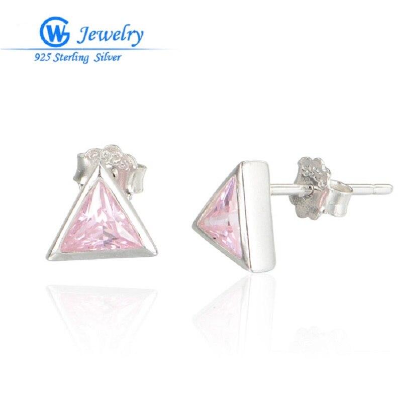 GW bijoux fantaisie boucles d'oreilles de luxe rose princesse fiançailles mariage solide véritable 925 boucle d'oreille en argent Sterling FE371H90