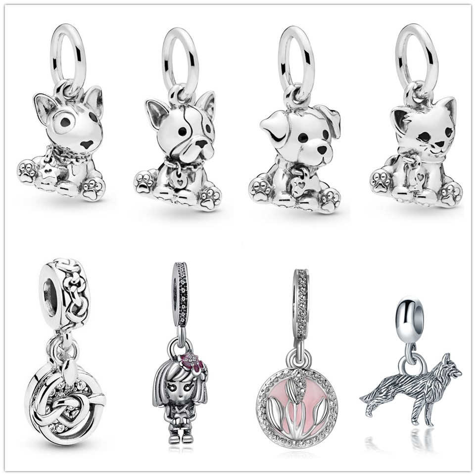 sliver color happy bull dog cat Beads pendant Charms Fit Pandora Bracelets & Bangles for Women New Fashion Jewelry DIY berloques