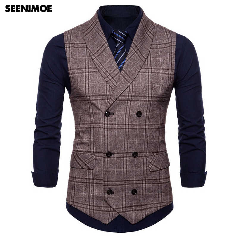 Seenimoe 2019 Heren Vesten Streep Plaid Formele Blazer Vesten Double Breasted Heren Vest Pak M-4XL Mannelijke Business Casual Vest