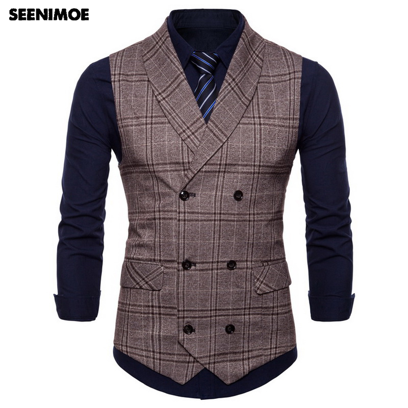 Seenimoe 2018 Mens Waistcoats Stripe Plaid Formal Blazer Vests Double Breasted Mens Vest Swimsuit M-4Xl Male Enterprise Informal Vest