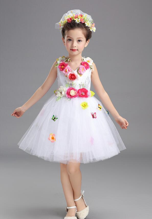 Платье для балета с блестками для девочек; нарядное детское платье для бальных танцев и сценических танцев; детское платье-пачка для выступлений в джазовом стиле - Цвет: Белый