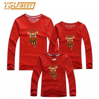 Navidad la mirada de la familia ropa de manga larga Camisas moda padre e hijo Trajes Milu Deer estilo madre hija matching