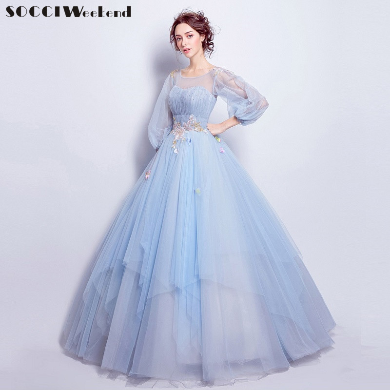 Socci weekend sky blue long sleeves evening dress formal for Blue long dress wedding