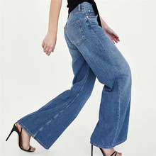 купить 2019 Summer Women Retro Style High Waist Wide Leg Jeans Pocket Flared Trousers Wide Leg Pants Loose Cowboy Solid Denim Pants дешево