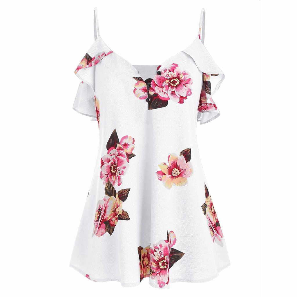 Блузка женская одежда 2019 Топы Туника женские топы корейские летние блузки повседневные с цветочным принтом женская одежда boho camisas mujer