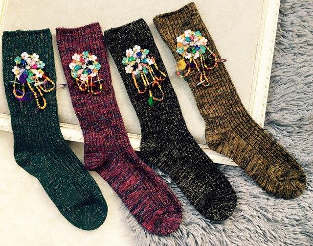 Мода Ручной Алмазный Блесток Цветы Блеск Носки Женщины Зима Теплая Вязаные Носки