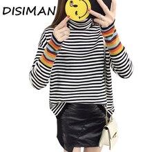 DISIMAN осенне-зимний свитер в полоску женский свитер вязаная рубашка свободного цвета с высоким