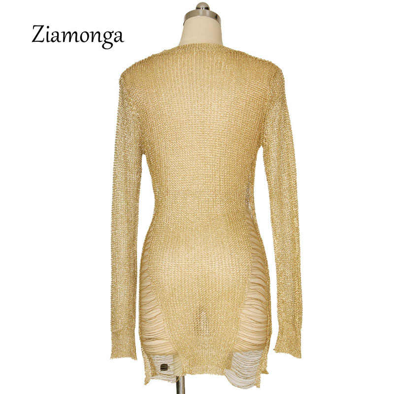 2ccd0e30edc09 Ziamonga Women Sexy Crochet Hollow Out Pullover Beach Sweater Mini Dress  Knit Bodice With Shred Detail Long Sleeve O-Neck Shirt