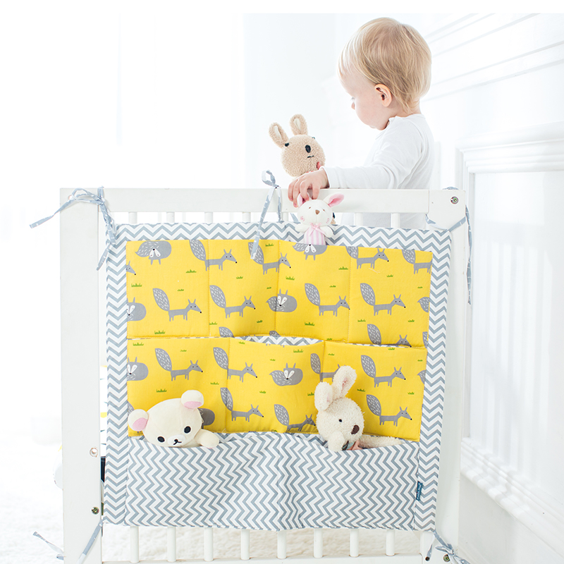 100 Cotton Cartoon <font><b>Baby</b></font> Bed Storage Bag <font><b>Baby</b></font> Cot Toys Organizer Bedside Pocket <font><b>Bedding</b></font> <font><b>Set</b></font> Nursery Hanging Crib Toy Diaper Pouch image
