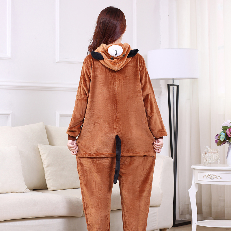 Cute Brown Dog Onesie Flannel One-Piece Pajamas Kigurumi Animal  Doggie Sleepwear Women And Men For Halloween Cosplay Party (2)