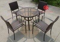 Современная Мебель Патио Сад плетеная набор столовой, элегантный сад Алюминий обеденный стол и стул