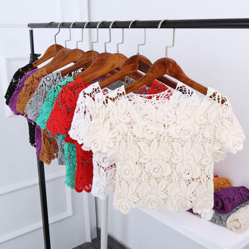 Ganchillo Ropa Las Floral lavanda menta Blusa Corta De Encaje Suéter rojo Señoras claro Casual Mujeres Negro Verano 2018 Tops Hueco Fsahion Coreano YqOYrUR