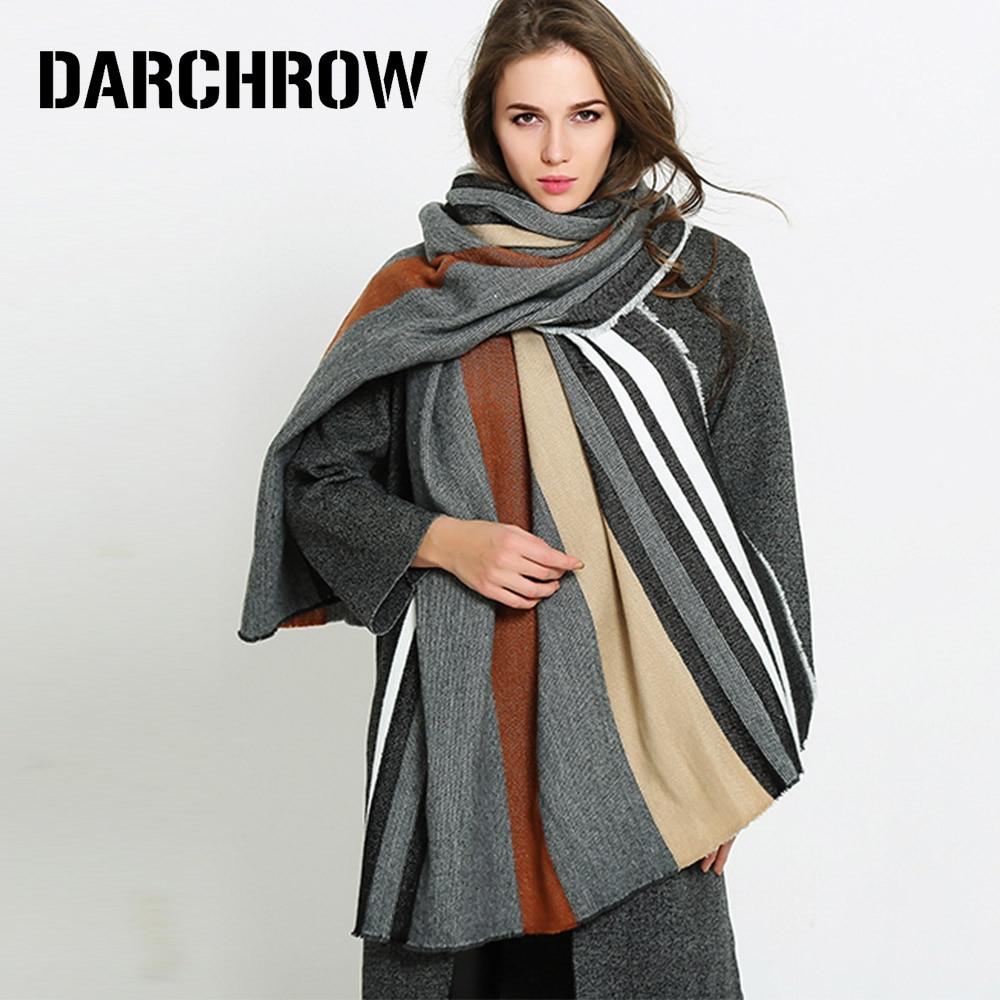 DARCHROW Fashion Winter Patchwork Cashmere   Scarf   Women Long Size Warm   Scarves     Wraps   Pashmina Shawls   Scarves   Soft Foulard