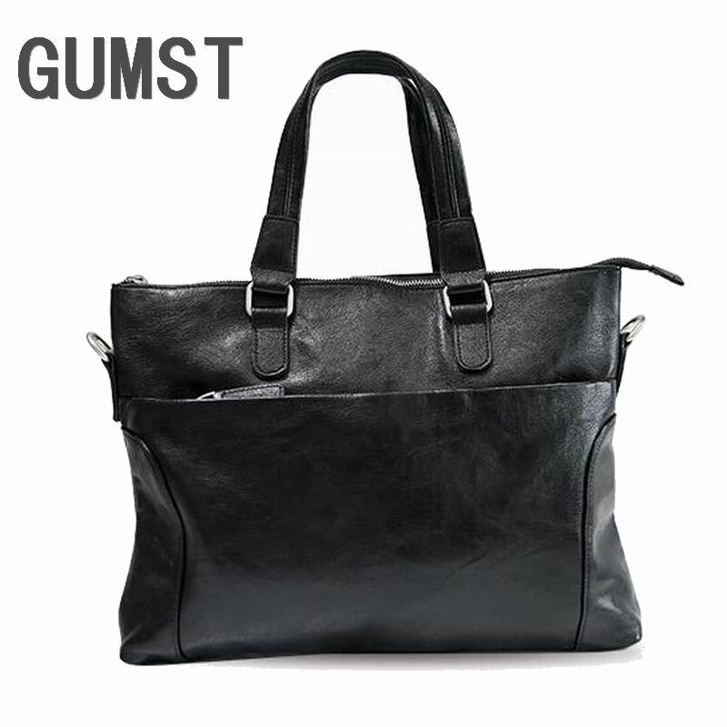 GUMST Promotion Simple Famous Brand Business Men Briefcase Bag Leather Laptop Bag Man Shoulder Bag Bolsa Maleta