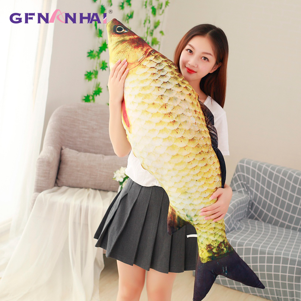 1pc 75cm Fashion Simulation Carp Stuffed Fish Plush Toys Pillow Kids Creative Sofa Bed Pillow Appease Baby Toy Christmas Gift 1pc 20cm 7 styles creative expression dumpling toys yan text bubble white foam particles plush pillow kids baby doll funny gift
