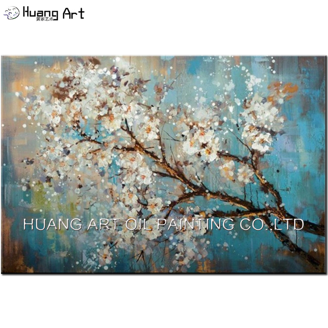 100 handpainted white flowers tree abstract morden blue oil 100 handpainted white flowers tree abstract morden blue oil painting on canvas plum blossom wall mightylinksfo