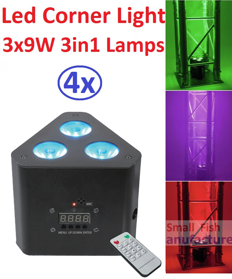 4xLot Free Shipping Led Corner Light 30W Mini Stage Effect Lighting 3x9W 3in1 RGB Beam Wash Strobe Lights DMX IR Remote Control автоинструменты new design autocom cdp 2014 2 3in1 led ds150