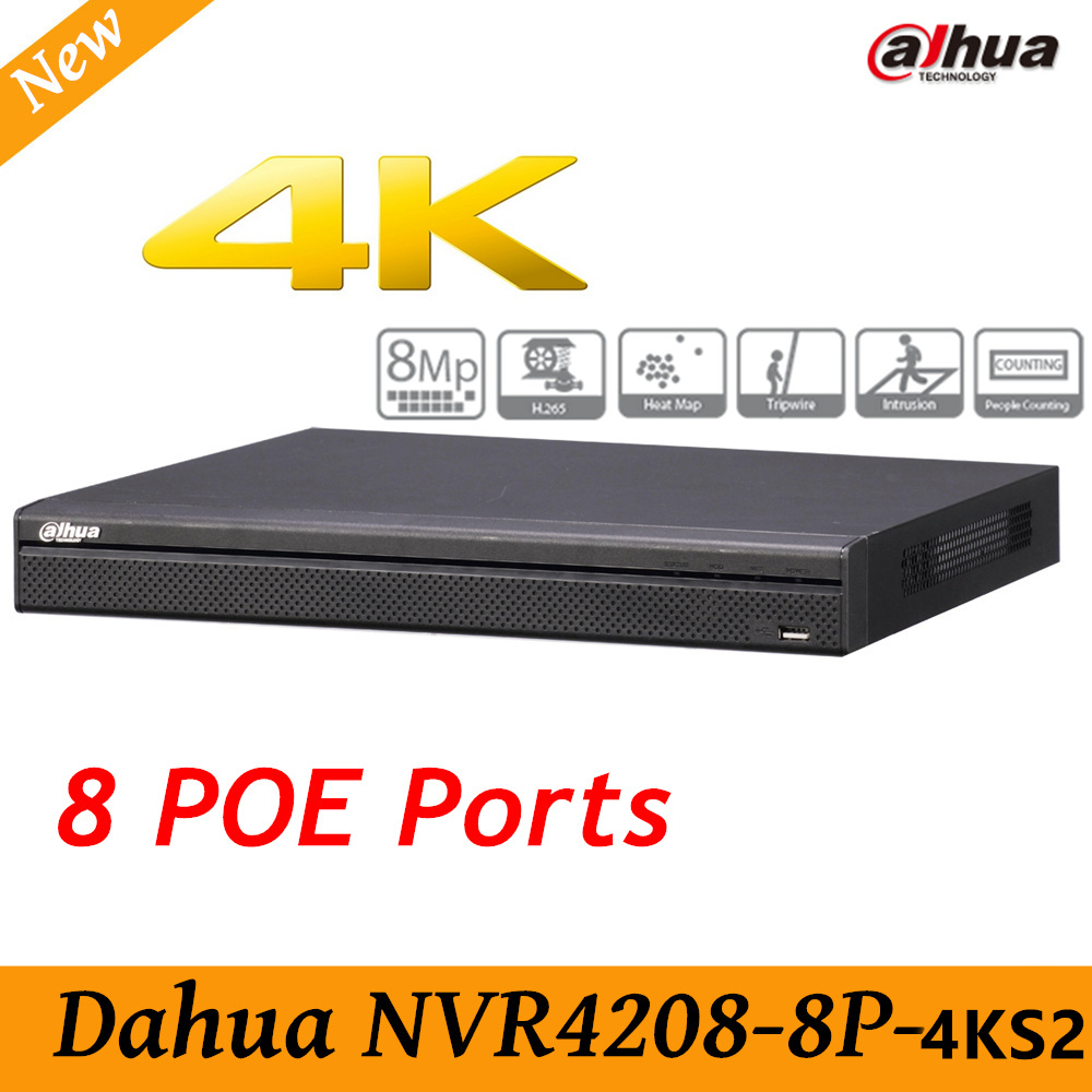 Original Dahua English version NVR4208-8P-4KS2 H.265 NVR with 2SATA 8POE ports , 4K NVR 8ch DH-NVR4208-8P-4KS2 in stock free shipping english version ds 7608ni k2 8p 8ch 4k nvr 2sata with 8poe ports embedded plug