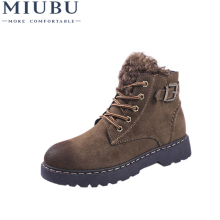 MIUBU Hot Women Boots Winter Warm Snow Botas Mujer Lace Up Fur Ankle Ladies Suede Leather Shoes Black