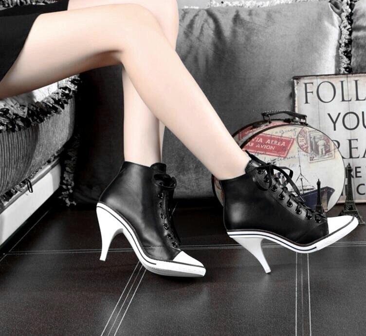2019 nouvelles chaussures pour femmes en cuir véritable talons hauts 6-8 cm femme printemps automne bottes croisées bottes dame bottes Martin