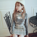 Princess sweet lolita sexy sweater BOBON21 Cross Bandage round collar velvet Lace decoration Retro sweater sexy style T1409