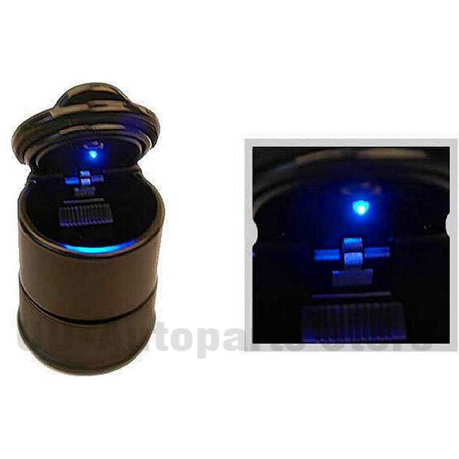 Double Layer for Easy Cleaning CEI/&BPY Car Ashtray With Blue LED Light,Detachable Auto Ashtray Black Smokeless Ashtray with Lid