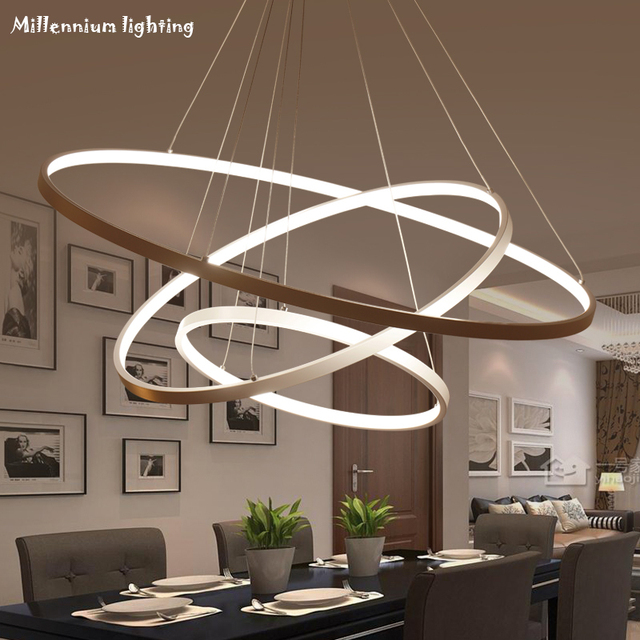 Modern living room chandeliers, LED acrylic lights, hanging rims, 85 ...