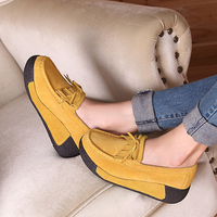 new 2018 spring women platform shoes sport shoes women leather suede wedges boots women lace up creepers chaussure femme Sneaker