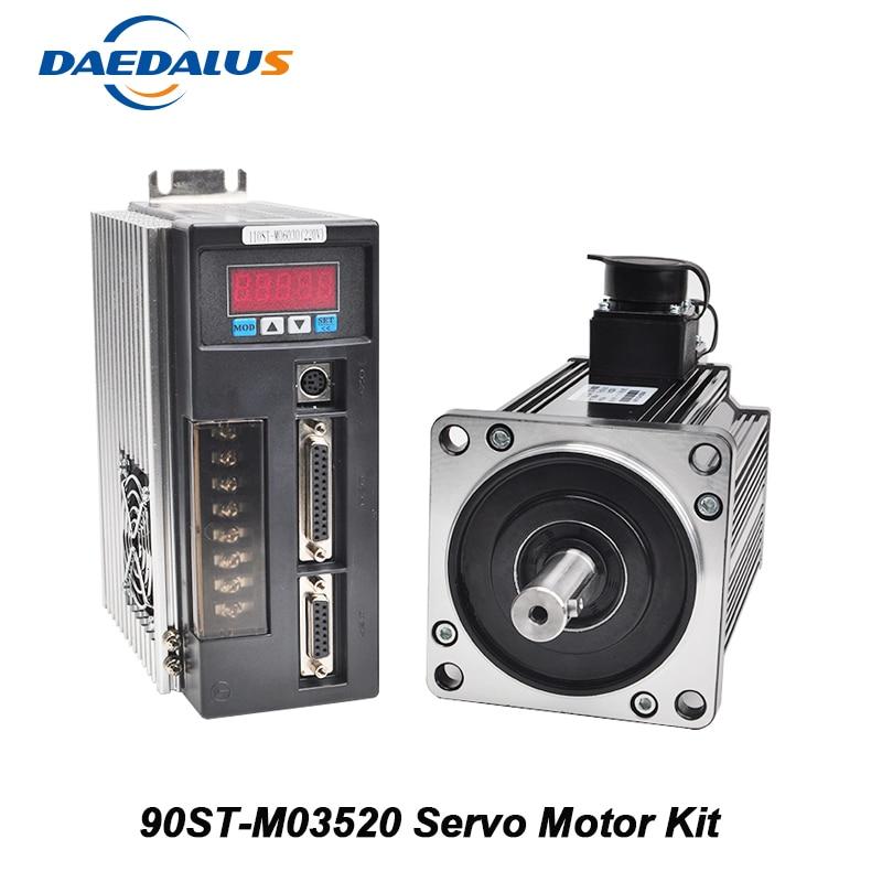 90ST M03520 Servo Motor Kit 0.73KW 220V Single Phase AC Servo Motor+Matched Driver CNC Drive With 3M Encoder Motor Cable