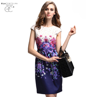 Elacentelha Brand High Quality Summer Women Print Short Sleeve Dress Casual Slim Waist Mini Women S