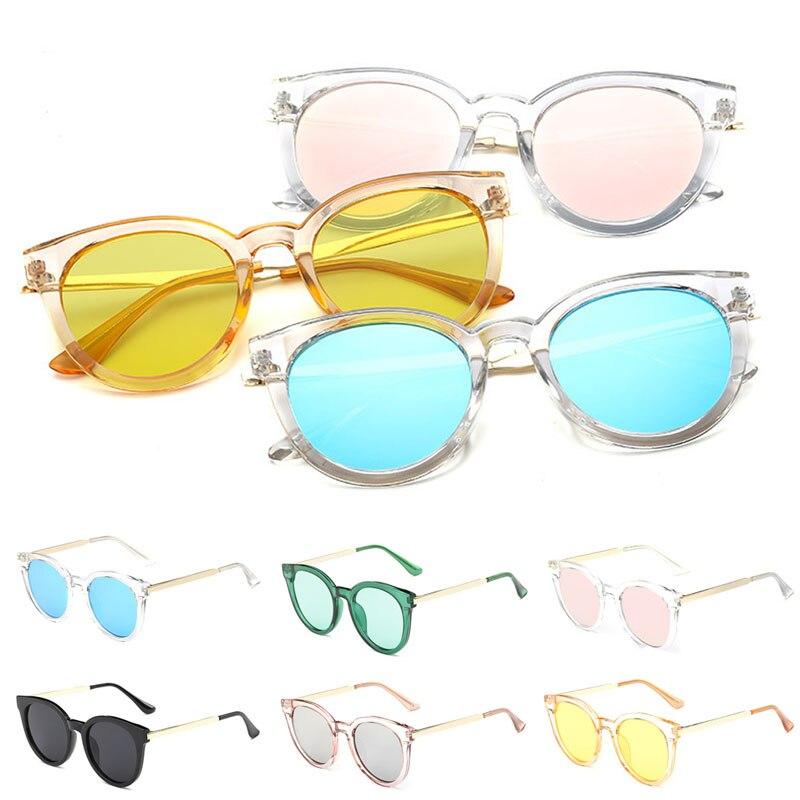 f3c424049f0 Retro Women Flat Lens Mirrored Metal Frame Glasses Oversized Cat Eye  Sunglasses