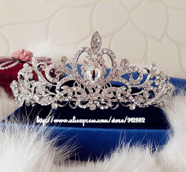 تيجان ملكية  امبراطورية فاخرة 2017-New-Royal-font-b-Quinceanera-b-font-Silver-Plated-Crystal-Rhinestone-Waterdrop-Bridal-Tiaras-And
