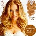 Clip en extensiones de cabello humano rubio de oro #27 clip en extensiones de cabello para las mujeres negras del pelo humano virginal Brasileño Clip-Ins 7 UNID