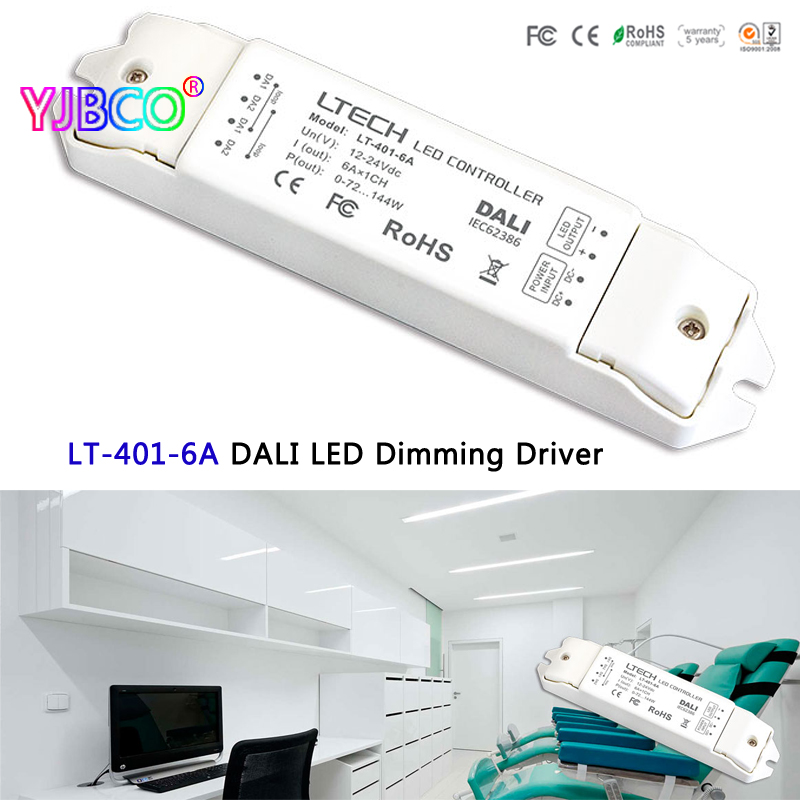 купить LT-401-6A Constant Voltage PMW DALI Dimming Driver DC12-24VInput 6A*1CH Output led controller for led strip недорого