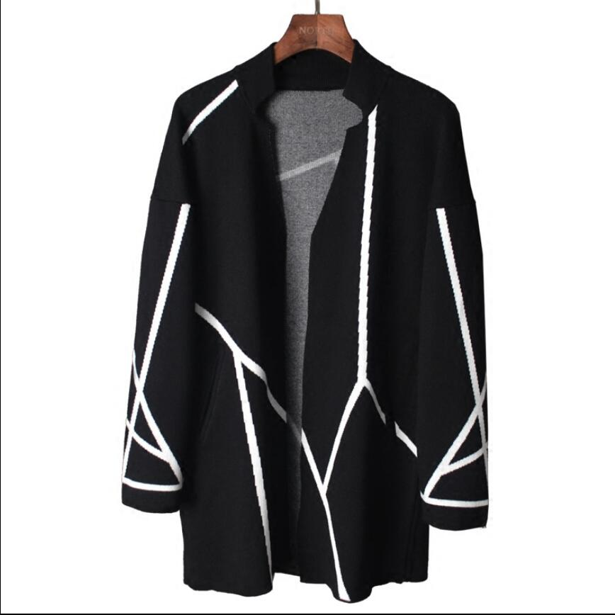 M-2xl Autumn And Winter New White Geometric Stripe Design Knit Cardigan Long Coat Men's Youth Hairstylist Tide Knit Sweater Coat