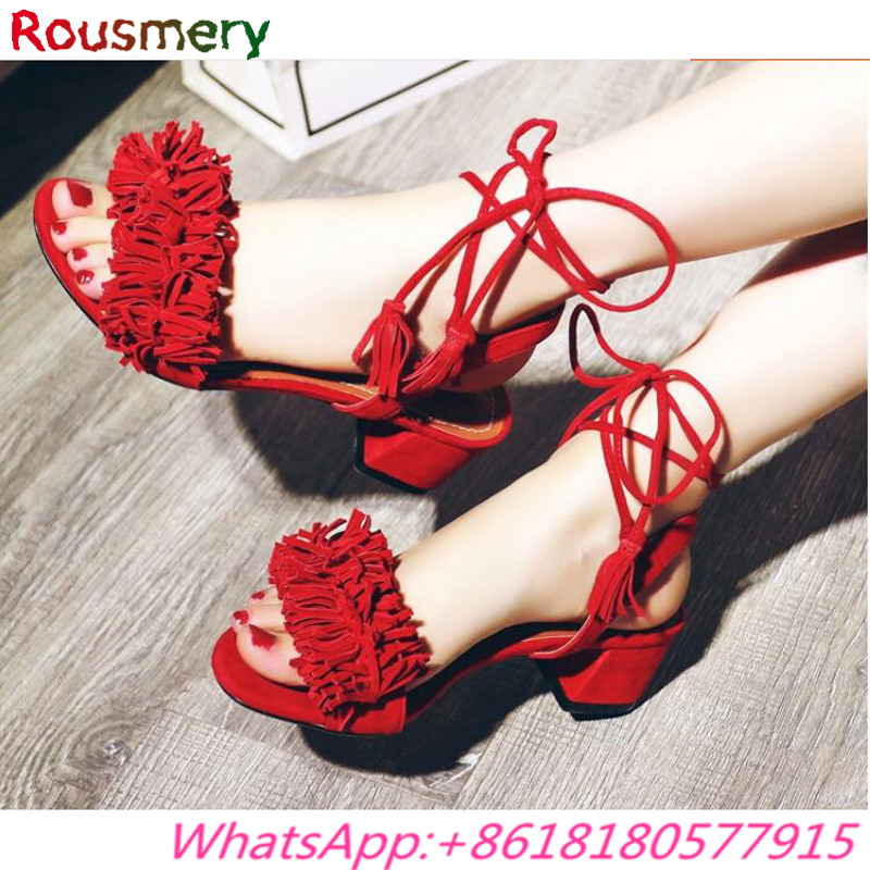 ФОТО Attractive Square High Heels Woman Sandals Summer Plus Size Colorful Sandalias Mujer Casual Lace-Up Cross-tied Zapatos Mujer
