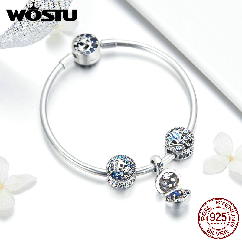 WOSTU Pure 925 Sterling Silver Blue Fish Sea World Beads Charm Bangles Bracelet For Women Unique