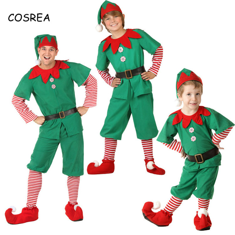 Matching Clothes Family Costumes Elf Parent-Child Mother Son Outfits Dresses Hat Shoes Socks Clothing Set Christmas Cosplay