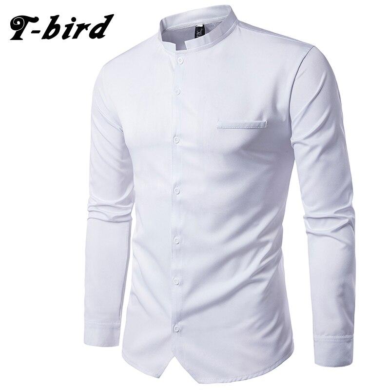 T Bird New Brand 2017 Men Shirt Black White Color Dress Shirt Long Sleeve Slim Fit
