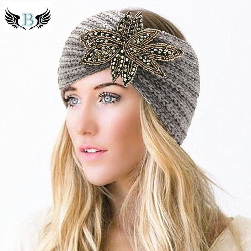 meilleur en ligne 100% authentique gamme exclusive € 2.02 40% de réduction|Bandeau tricoté bohème en laine perlée pour femmes  bandeau Turban fleur bandeau d'hiver chaud oreille bandeaux chapeaux filles  ...
