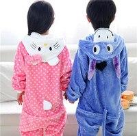 2016 Winter Pajamas For Kids Flannel Baby Boy Cartoon Bear Pig Kt Cat Donkey Animal Onesie