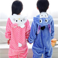 2016 Winter Pajamas For Kids Flannel Baby Boy Cartoon Bear Pig Kt Cat Donkey Animal Onesie