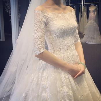 Wedding Dress Mermaid Robe De Pearl Lace Appliques Female Vestido De Novia Half Sleeve Elegant Bride Dresses Marriage Gowns