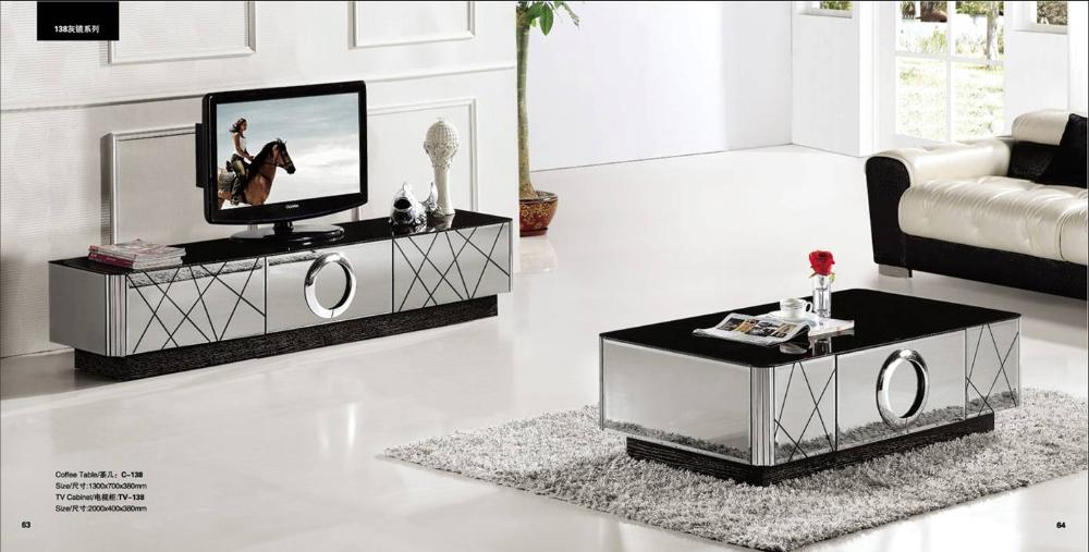 Mirror Living Room Tables Plastic Chairs India Modern Gray Furniture Coffee Table And Tv Cabinet Set Smart Grand House Yq138 In Sets From On
