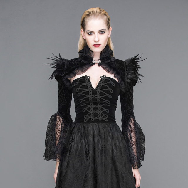 2017 New Winter Palace and Gothic Steampunk feather cape collar ultra long sleeve coat female lotus leaf