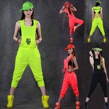 Хип-хоп танец костюм Производительность Носите женщин ползунки Европейский Playsuit Свободные Комбинезоны шаровары Джаз цельный комбинезон Брюки
