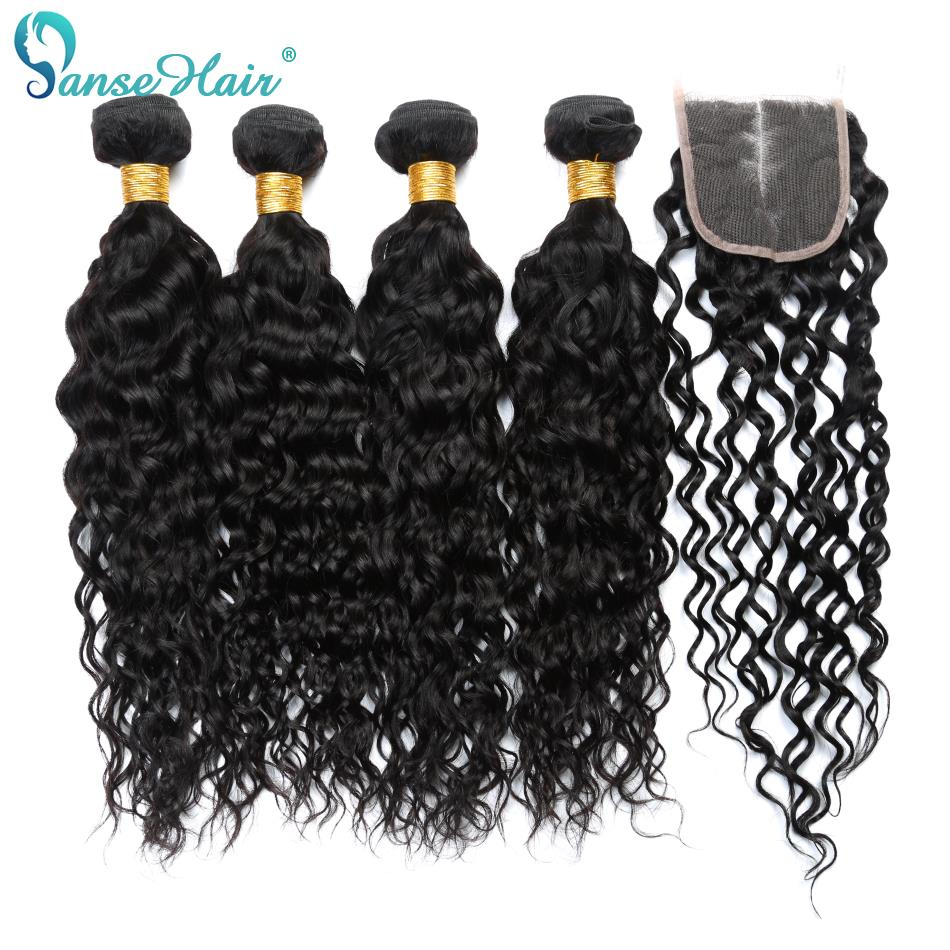 Brazilian Water Wave Bundles Human Hair Panse Hair 4 Bundles With One Lace Closure Non Remy Human Hair Weaving Mixed 8-28 Inches
